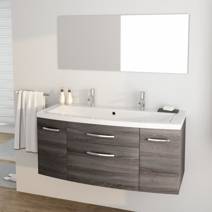 pacome ensemble meubles de salle de bain simple vasque miroir l 120 cm gris effet bois. Black Bedroom Furniture Sets. Home Design Ideas
