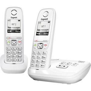 Téléphone fixe Gigaset AS405A Duo Répondeur Blanc