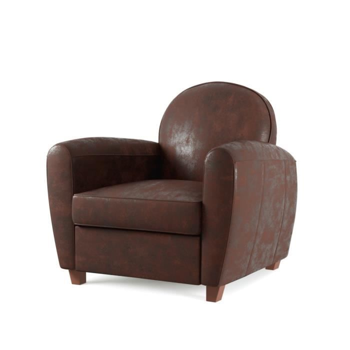 bristol fauteuil club en microfibre vintage marron achat vente fauteuil marron cdiscount. Black Bedroom Furniture Sets. Home Design Ideas