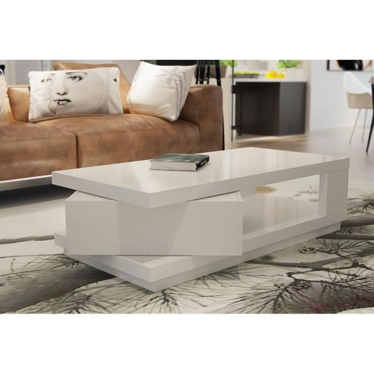 gustavo table basse 120 cm blanc brillant achat vente. Black Bedroom Furniture Sets. Home Design Ideas