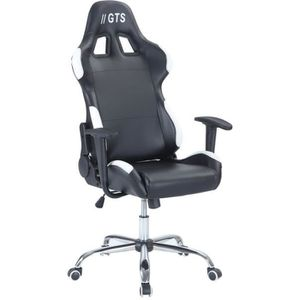 SIÈGE GAMING Chaise Gamer Baquet Race - Simili et PVC - Noir et