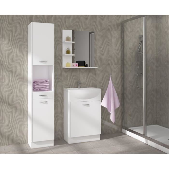 Celso salle de bain compl te simple vasque 50 cm blanc for Salle de bain complete solde