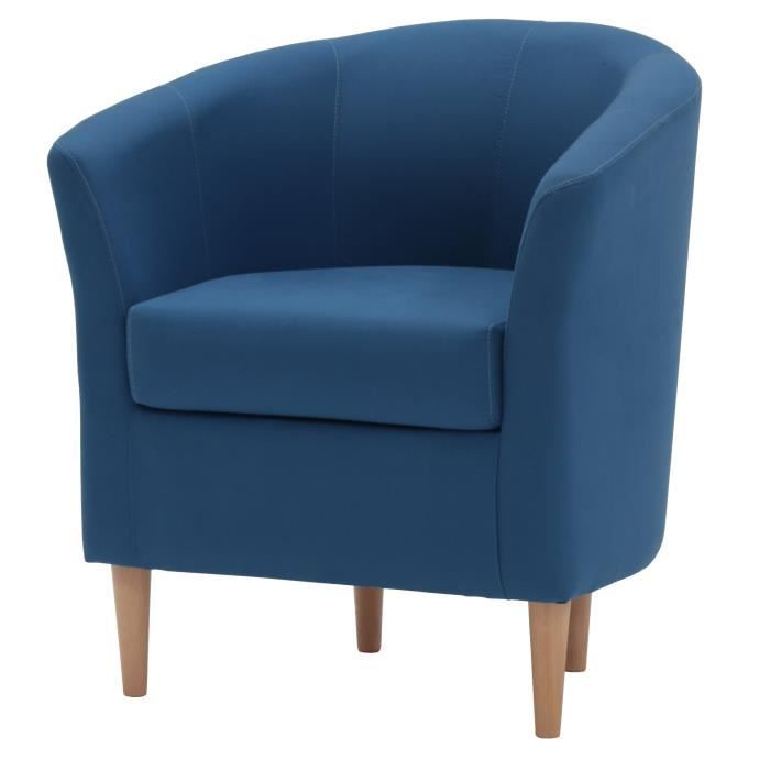 FAUTEUIL ENZO Fauteuil - Tissu 100% Coton Bleu canard - L 5