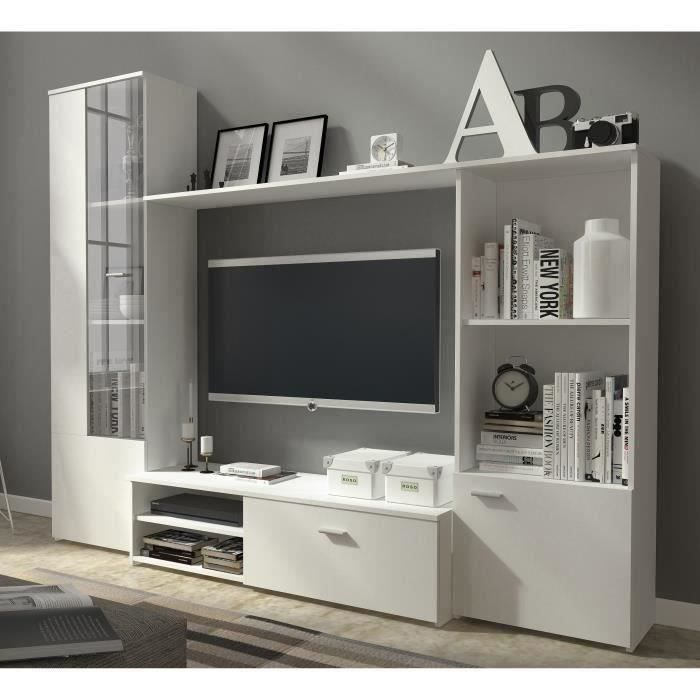 hugo meuble tv mural contemporain blanc mat l 220 cm achat vente meuble tv hugo meuble tv. Black Bedroom Furniture Sets. Home Design Ideas