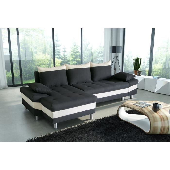pegase canap d 39 angle gauche 4 places tissu noir et. Black Bedroom Furniture Sets. Home Design Ideas