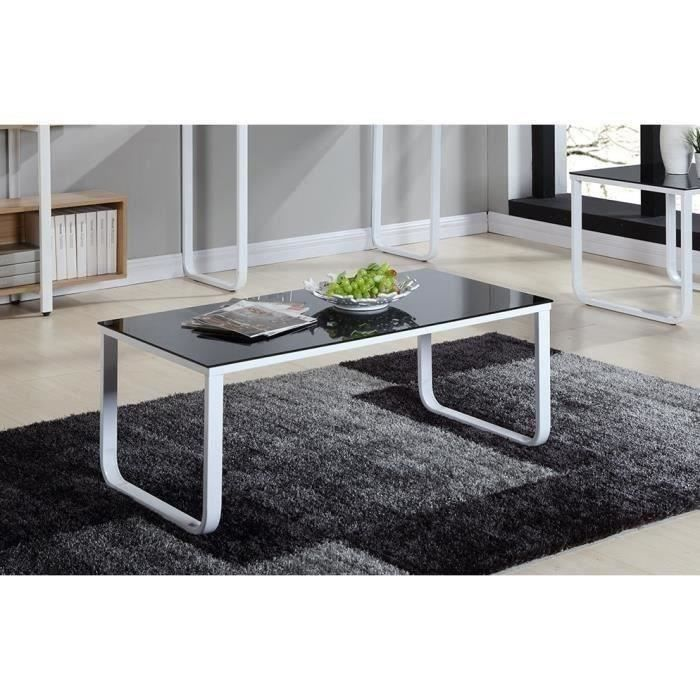 profil table basse m tal 110cm noir et blanc achat. Black Bedroom Furniture Sets. Home Design Ideas