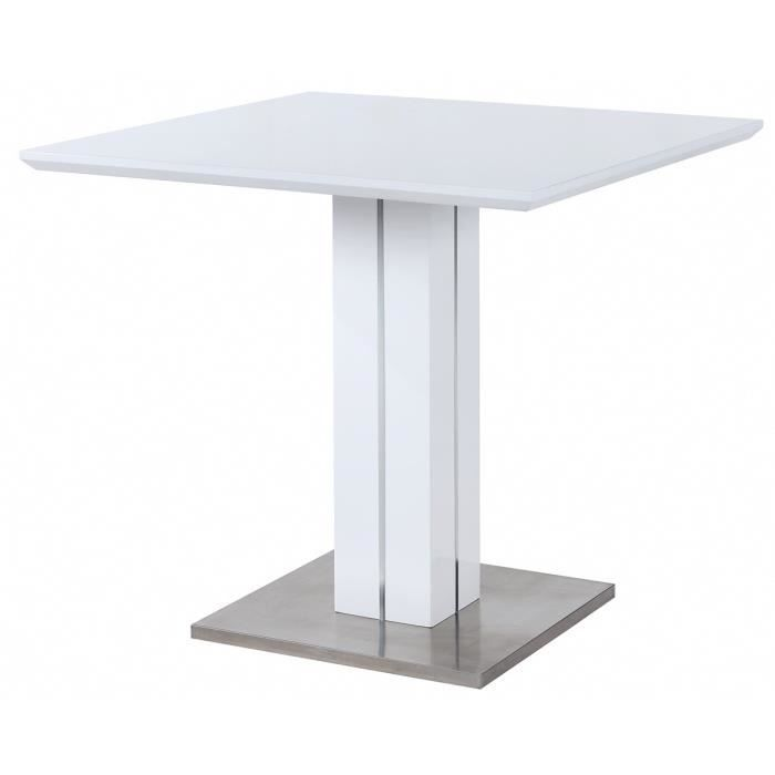 Sandro table de bar 100x100cm laqu blanc brillant achat - Table de bar blanc laque ...