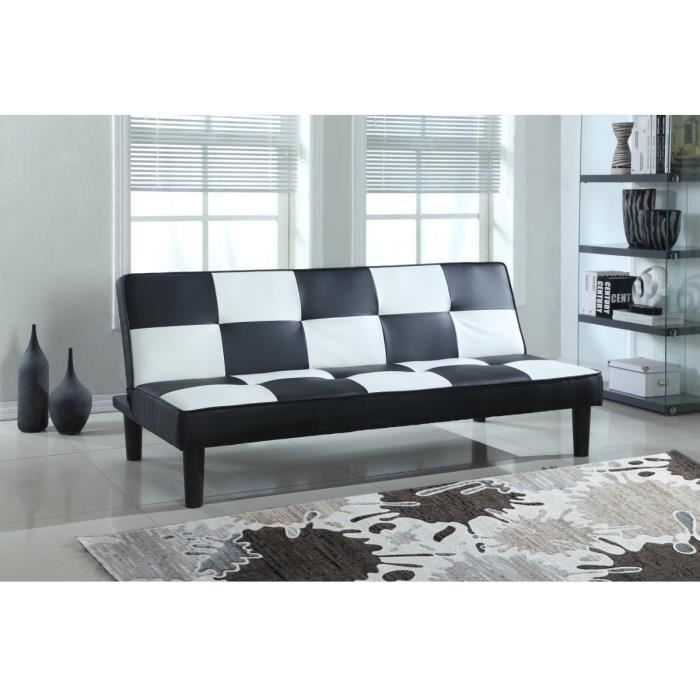 dam banquette convertible 3 places 175x88x78 cm simili noir achat vente banquette. Black Bedroom Furniture Sets. Home Design Ideas