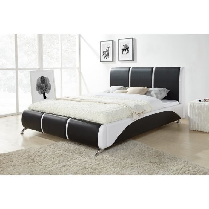 torino lit adulte 140x190 cm sommier noir et blanc. Black Bedroom Furniture Sets. Home Design Ideas