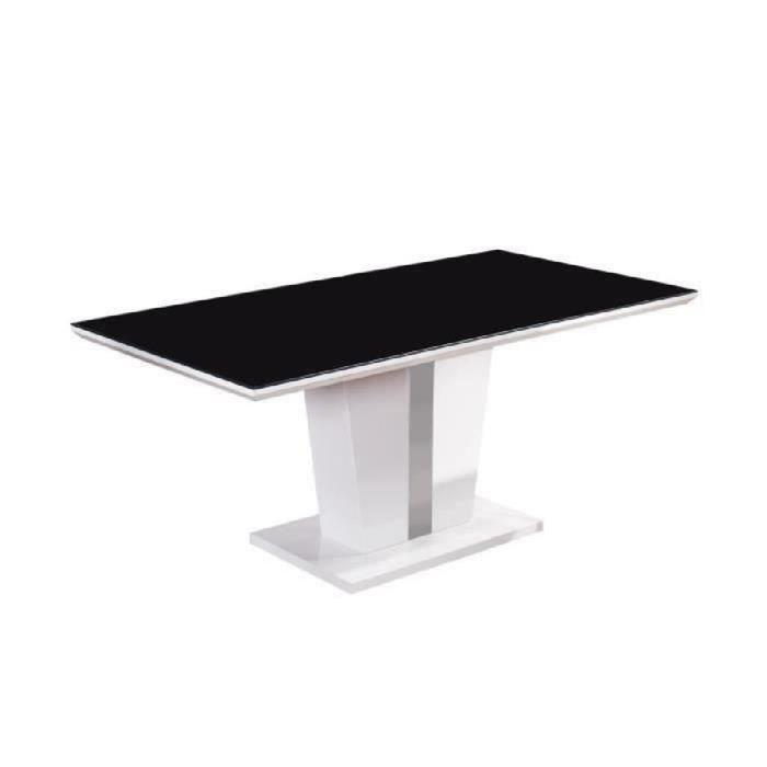 TREVISE Table à manger 8 personnes contemporain - Laqué blanc brillant +  Plateau de verre trempé noir - L 180 x l 90 cm