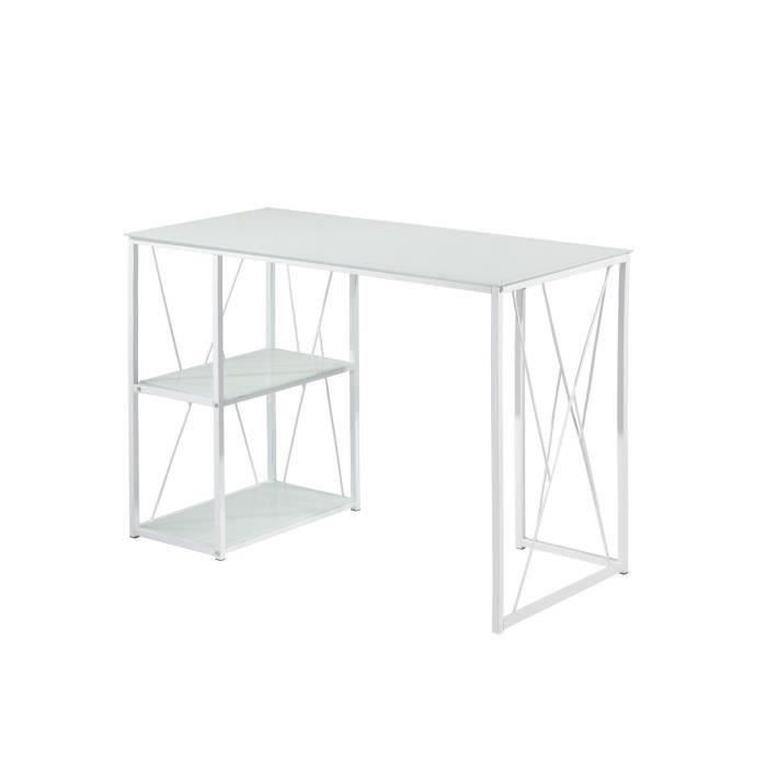 trigo bureau en m tal plateau et tag re en verre tremp blanc l 110 cm achat vente bureau. Black Bedroom Furniture Sets. Home Design Ideas