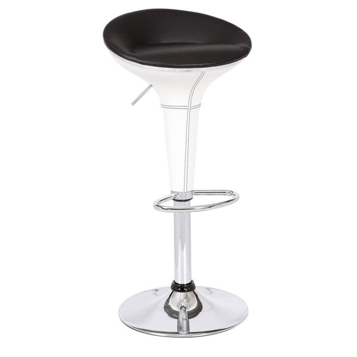 lot de 2 tabourets de bar cosmo blanc et noir achat vente tabouret de bar rev tement simili. Black Bedroom Furniture Sets. Home Design Ideas