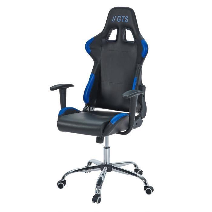 SIÈGE GAMING Chaise Gamer Baquet Race - Simili et PVC - Noir et