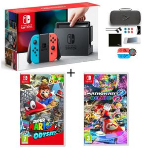 CONSOLE NINTENDO SWITCH Pack Nintendo Switch Néon + Super Mario Odyssey +