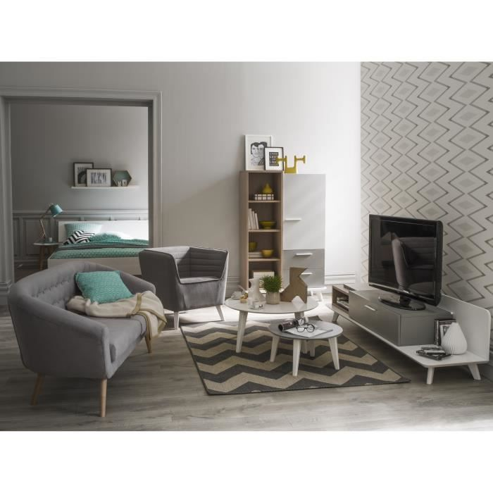 block ensemble meubles de s jour bahut banc tv d cor ch ne aragon blanc gris perle et. Black Bedroom Furniture Sets. Home Design Ideas