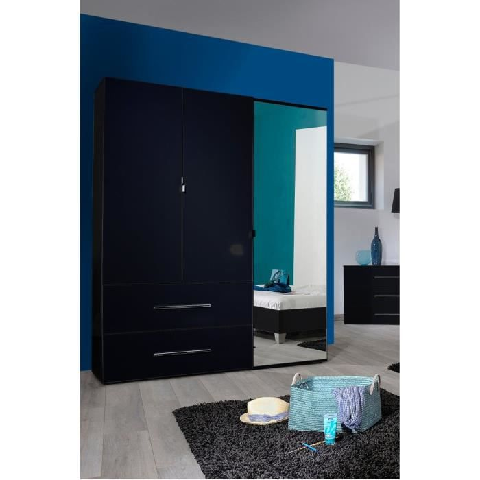 first armoire 3 portes 2 tiroirs 162cm laqu noir achat. Black Bedroom Furniture Sets. Home Design Ideas