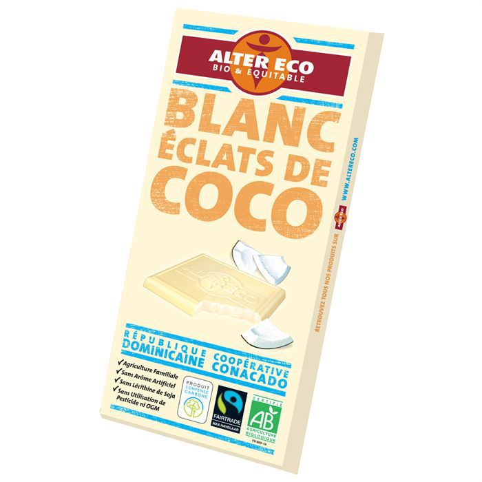 Alter eco chocolat blanc coco bio 100g x1 achat for 1 tablette de chocolat