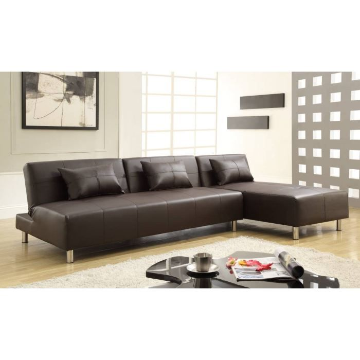 canap angle r versible choco convertible achat vente canap sofa divan polyur thane. Black Bedroom Furniture Sets. Home Design Ideas