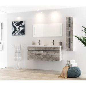 SALLE DE BAIN COMPLETE ALBAN Ensemble salle de bain double vasque avec mi