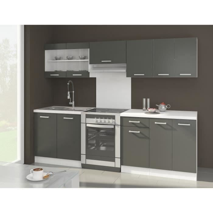 ultra cuisine compl te l 2m40 gris mat achat vente cuisine compl te ultra cuisine compl te. Black Bedroom Furniture Sets. Home Design Ideas