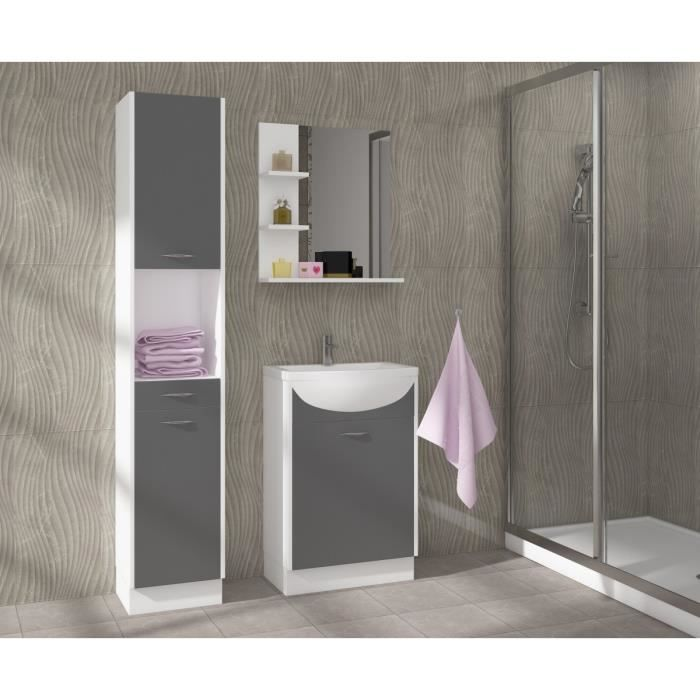 celso salle de bain compl te simple vasque 50 cm gris. Black Bedroom Furniture Sets. Home Design Ideas