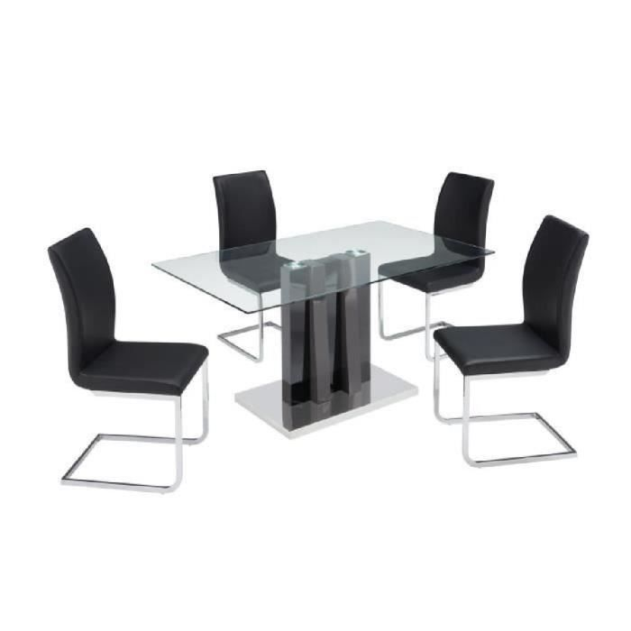 Yumi ensemble table manger 4 chaises en simili for Chaises table a manger