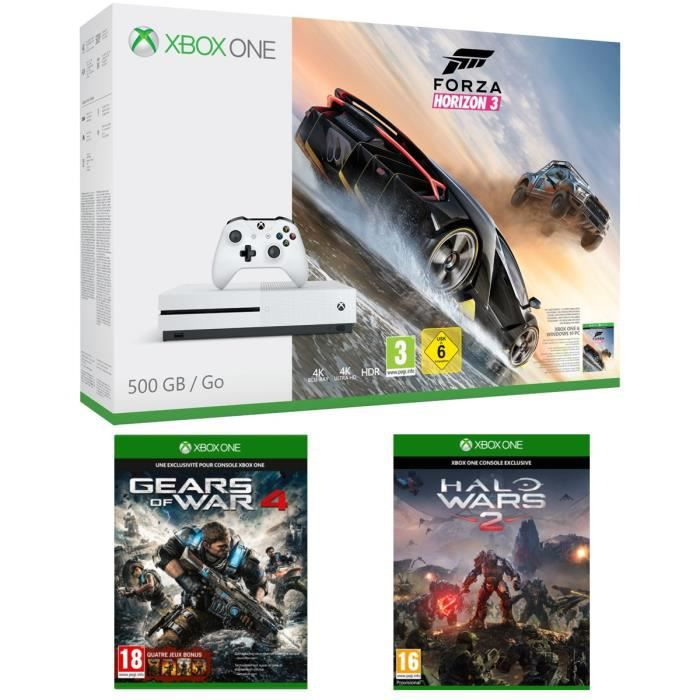 xbox one s 500 go forza horizon 3 gears of war 4 halo wars 2 achat vente console xbox. Black Bedroom Furniture Sets. Home Design Ideas