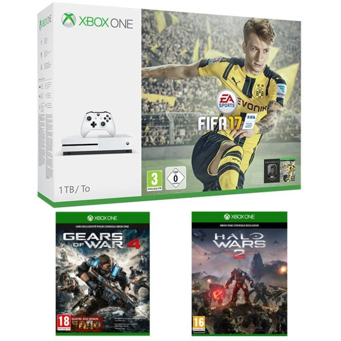 CONSOLE XBOX ONE NOUV. Xbox One S 1 To + FIFA 17 + Gears of War 4 + Halo