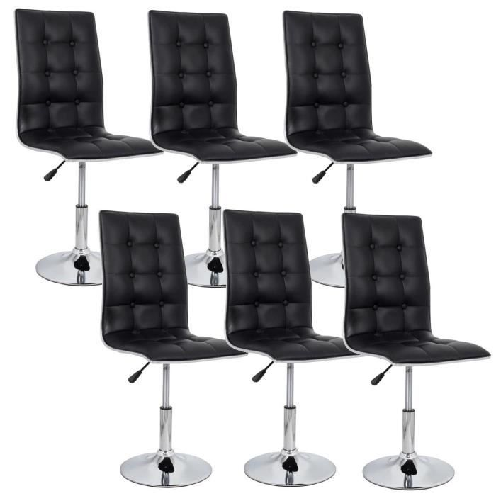 leaf lot de 6 chaises de salle manger noires achat vente chaise cdiscount. Black Bedroom Furniture Sets. Home Design Ideas