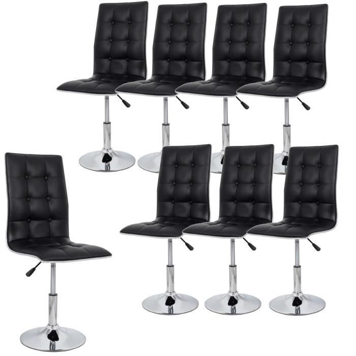 leaf lot de 8 chaises de salle manger noires achat vente chaise cdiscount. Black Bedroom Furniture Sets. Home Design Ideas