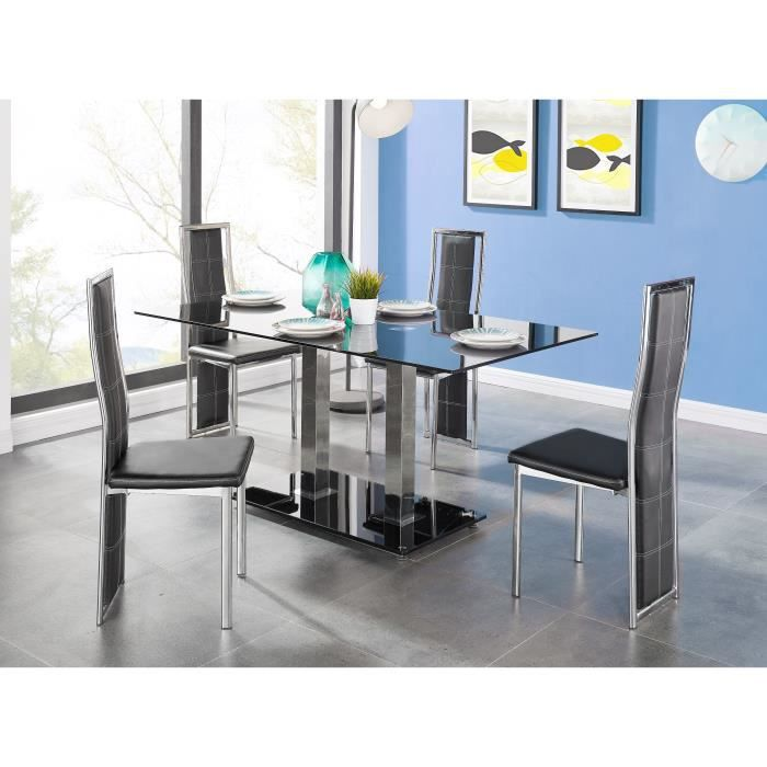 dual table manger en m tal et verre 6 personnes 160x90 cm noir et effet chrom achat. Black Bedroom Furniture Sets. Home Design Ideas