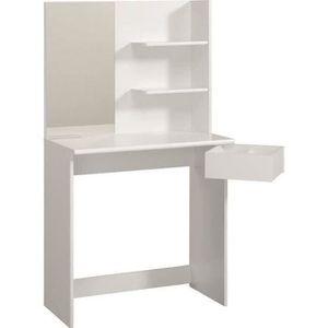 COIFFEUSE FASHION Coiffeuse style contemporain blanc mat - L