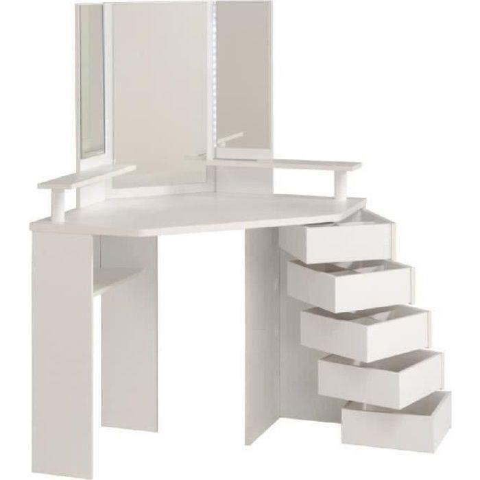 COIFFEUSE GLAM Coiffeuse avec LED style contemporain blanc -