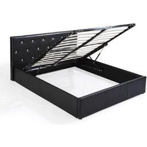 STRUCTURE DE LIT BAHIA Lit coffre adulte contemporain simili noir +