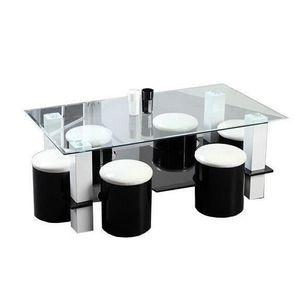 TABLE BASSE BODEGA Table basse + 6 poufs contemporain MDF noir
