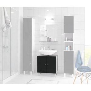 MEUBLE VASQUE - PLAN CORAIL Meuble sous-lavabo L 60 cm - Noir laqué