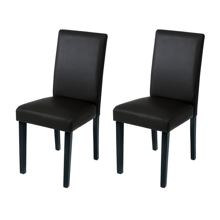 lot de 2 chaises noires rev tement simili cuir achat. Black Bedroom Furniture Sets. Home Design Ideas