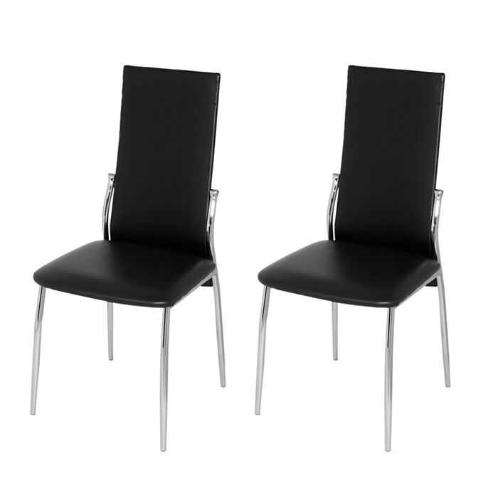 lot de 2 chaises noires bianca achat vente chaise tube m tal cdiscount. Black Bedroom Furniture Sets. Home Design Ideas