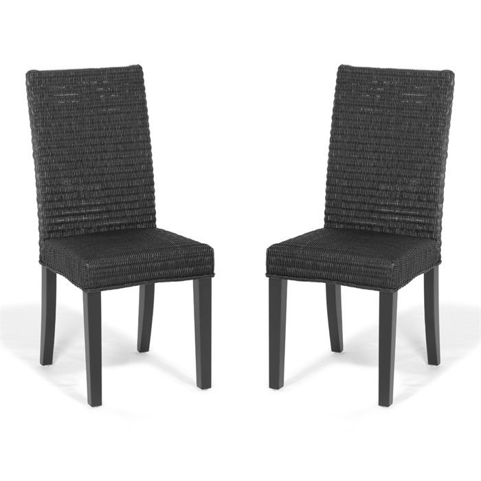 lot de 2 chaises corfu en rotin tress noires achat vente chaise pin cdiscount. Black Bedroom Furniture Sets. Home Design Ideas