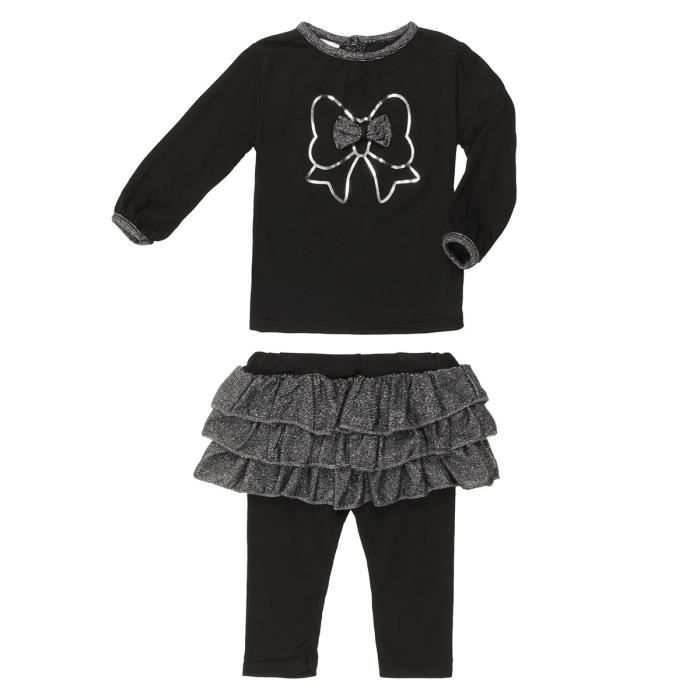 b b r ve t shirt jupe et legging b b fille noir et gris achat vente ensemble de v tements. Black Bedroom Furniture Sets. Home Design Ideas