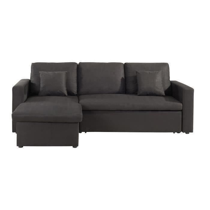 aspen canap d 39 angle convertible en tissu noir achat vente canap sofa divan structure. Black Bedroom Furniture Sets. Home Design Ideas