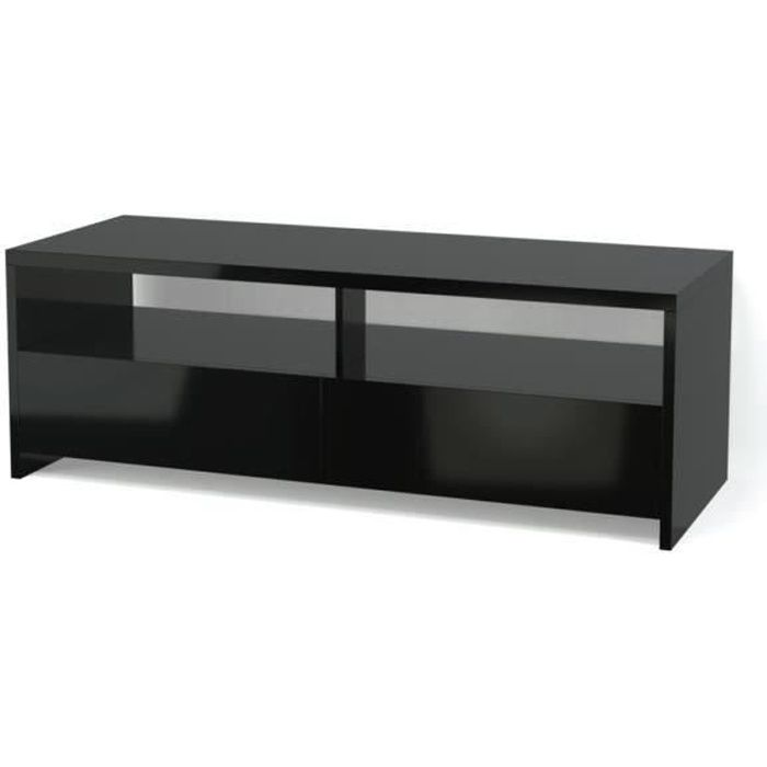 banco meuble tv contemporain noir brillant l 110 cm achat vente meuble tv banco noir haute. Black Bedroom Furniture Sets. Home Design Ideas