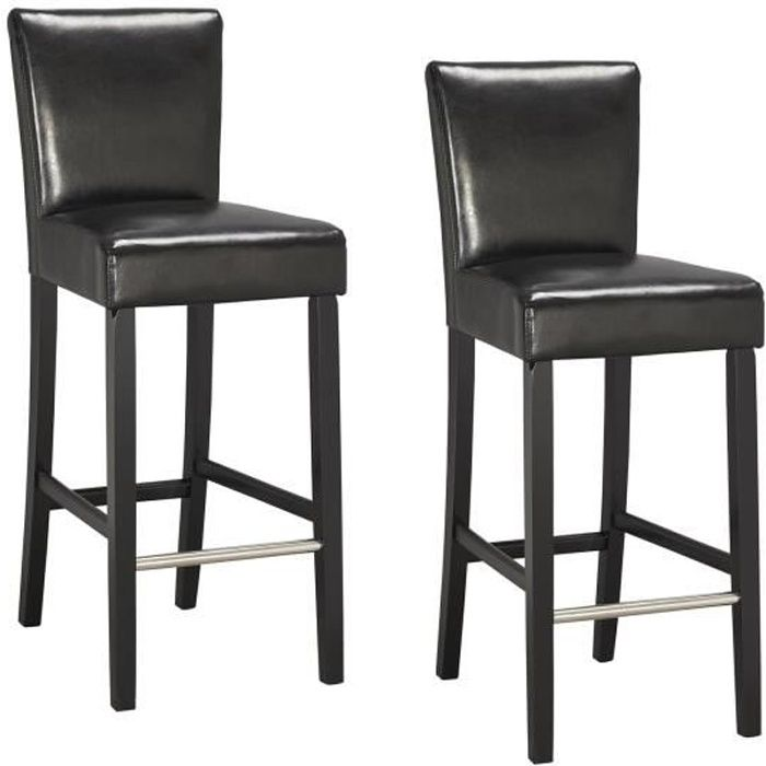 elvis lot de 2 chaises de bar noires achat vente tabouret de bar noir pied et structure bois. Black Bedroom Furniture Sets. Home Design Ideas