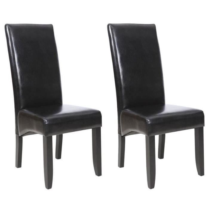 cuba lot de 2 chaises de salle manger simili noir style contemporain l 48 x p 64 cm. Black Bedroom Furniture Sets. Home Design Ideas