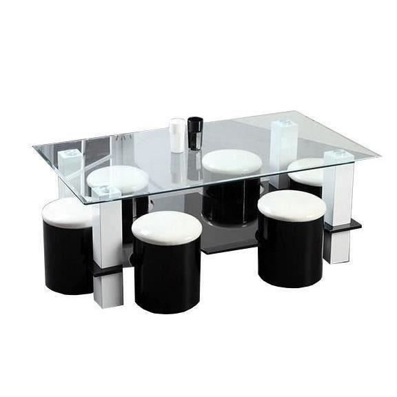 Bodega table basse 6 poufs 130 cm noir achat vente table basse bodega table basse 6 - Table basse salon noir ...