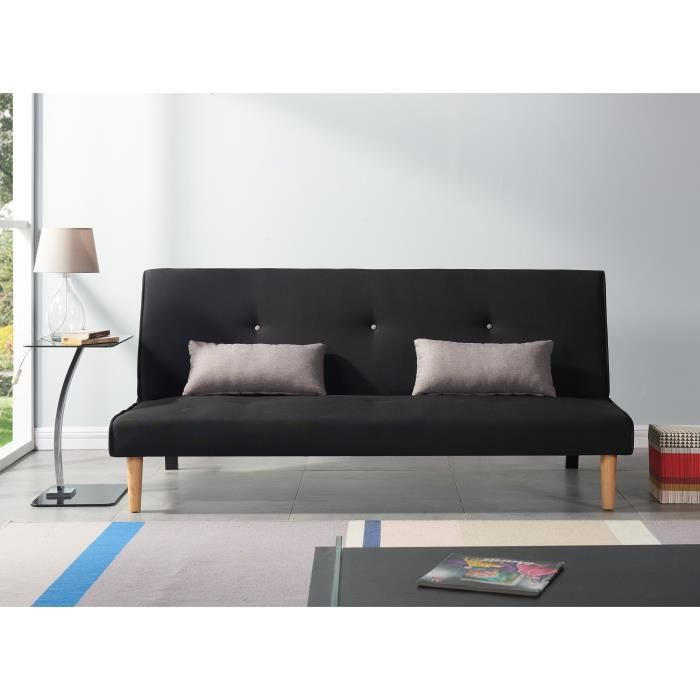 borg banquette clic clac 3 places 180x92x77cm tissu gris achat vente clic clac. Black Bedroom Furniture Sets. Home Design Ideas