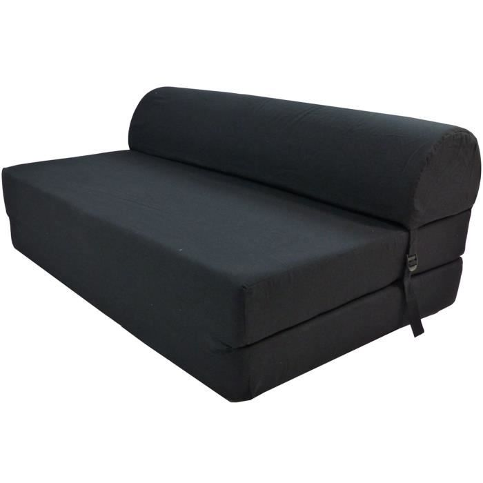 banquette unie noire achat vente chauffeuse 100 coton 100 polypropyl ne pvc cdiscount. Black Bedroom Furniture Sets. Home Design Ideas