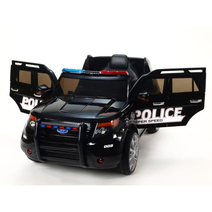 voiture lectrique police 12v noir achat vente voiture enfant cdiscount. Black Bedroom Furniture Sets. Home Design Ideas