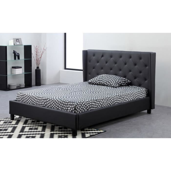 casta lit adulte sommier 140x190 noir achat vente. Black Bedroom Furniture Sets. Home Design Ideas