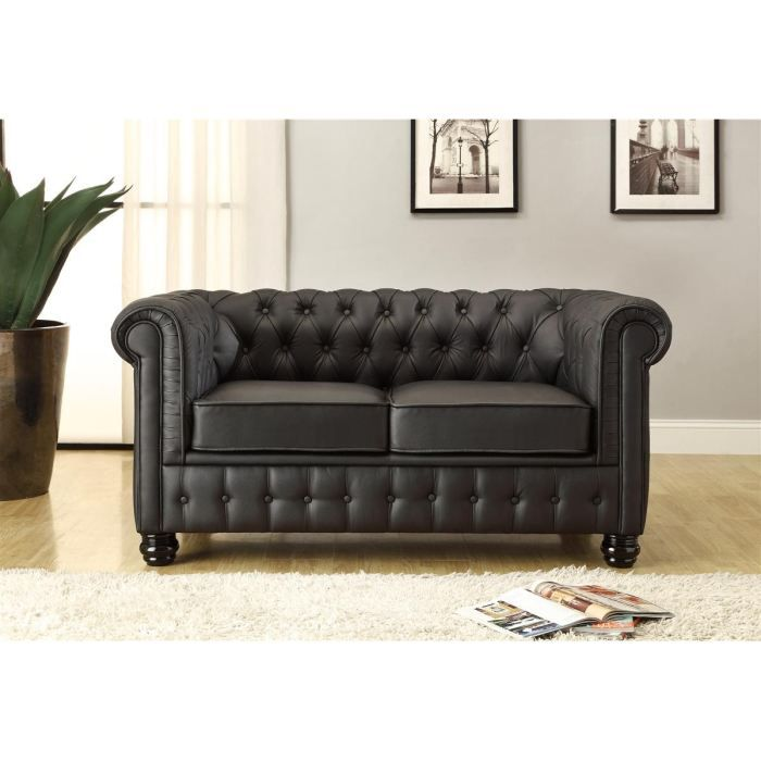 chesterfield canap en cuir et simili 2 places 152x88x75 cm noir achat vente canap. Black Bedroom Furniture Sets. Home Design Ideas